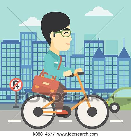 Man riding bicycle vector illustration. Clip Art ...