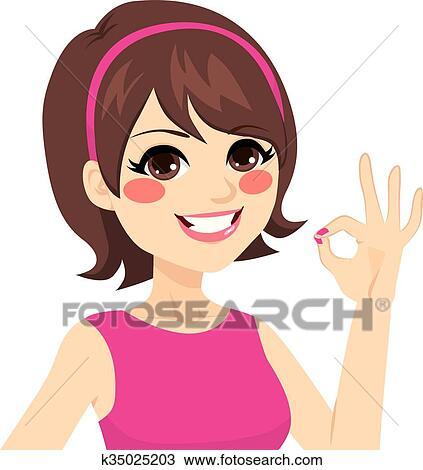 Okay Happy Woman Clipart | k35025203 | Fotosearch