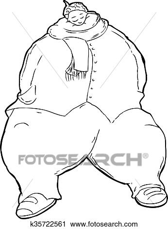 Clipart Of Outline Of Obese Black Woman Asleep K35722561