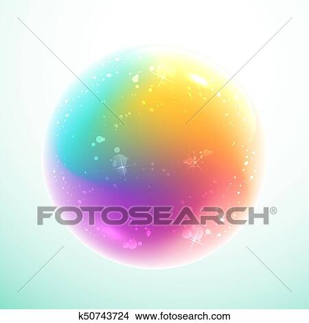 Rainbow bubble on light blue background Clipart