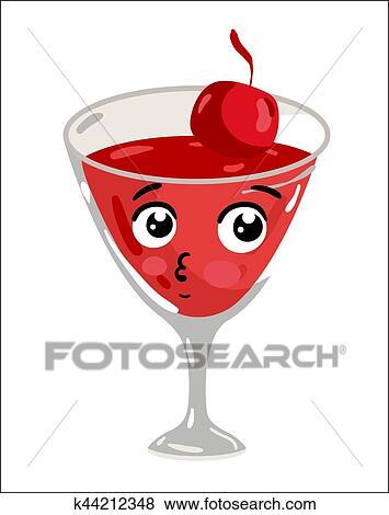Clipart rigolote cocktail cerise dessin anim - Dessin cocktail ...