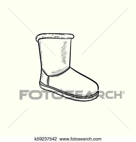Soft boot hand drawn outline doodle icon. Clipart