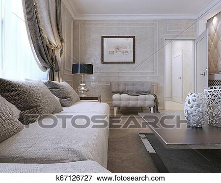 Wohnzimmer, art deco, stil Stock Illustration