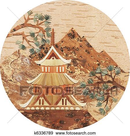 Ilustrace Z Mnoziny Application Jeden Pagoda Do Hory K6336789