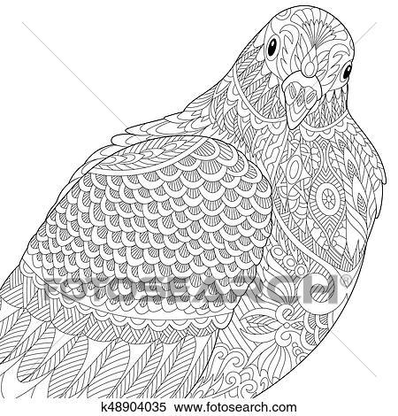 Colombe ou pigeon oiseau clipart k48904035 fotosearch - Dessin pigeon ...
