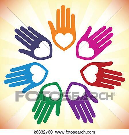 Coloridos Unidas Amando Maos Desenho Clipart K6332760