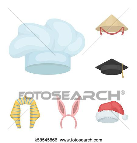 a8c5cfddcb08c Different kinds of hats cartoon icons in set collection for design.Headdress  bitmap symbol stock illustration.