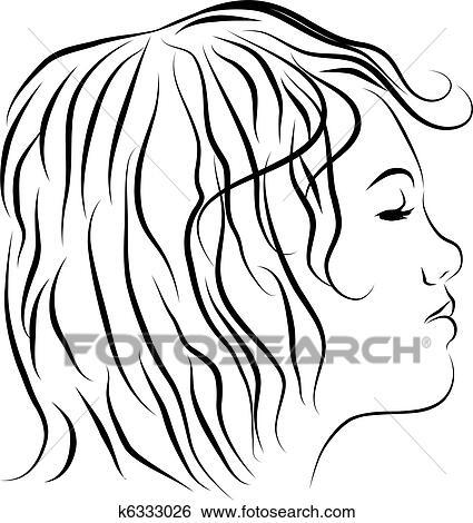 Clipart Femme Diriger Profil Dessin Ligne K6333026 Recherchez