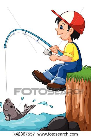clip art of little boy fishing k42367557 search clipart rh fotosearch com  boy fishing clipart free