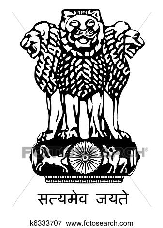 Clip Art Of National Emblem Of India K6333707 Search Clipart