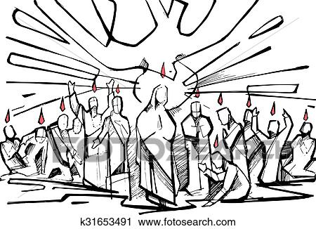 clipart of pentecost k31653491 search clip art illustration rh fotosearch com pentecost clipart black and white pentecost clip art free