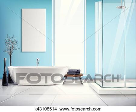 Realista, cuarto de baño, diseño de interiores Clipart | k43108514 ...
