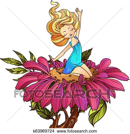 Thumbelina, fairy tale character sitting on the flower. Vector illustration. Clipart