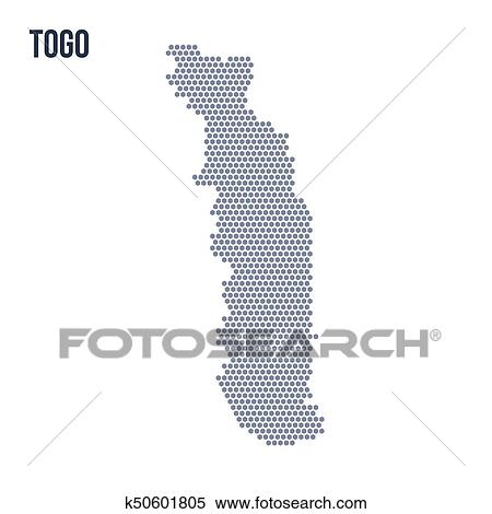 Vector hexagon map of Togo isolated on white background Clipart