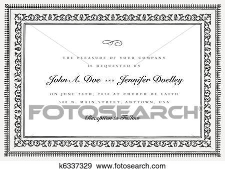 Clip Art of Vector Short Ornate Vintage Frame k6337329 - Search ...