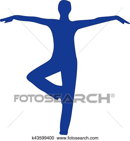 yoga silhouette standing clipart  k43599400  fotosearch