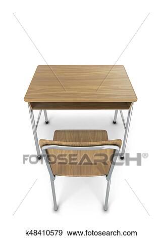 学校机 で 椅子 イラスト K48410579 Fotosearch