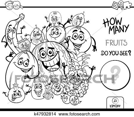 Counting fruits coloring book Clipart