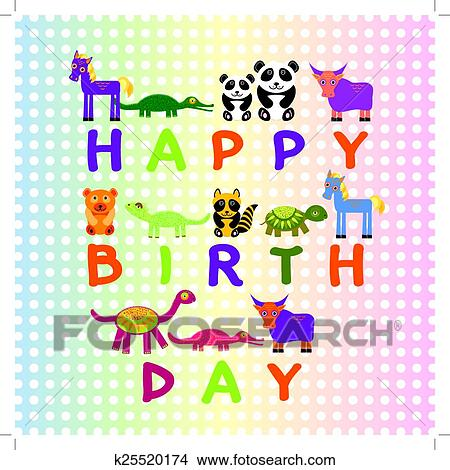 Clipart Of Happy Birthday Card On Pastel Color Background Funny