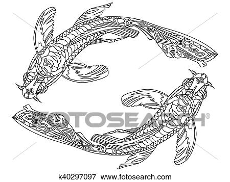 Clip Art Of Koi Carp Fish Coloring Book For Adults Vector K40297097