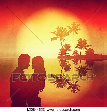 Kresba More Sunset Ostrov S Podmazat Kopyto A Silueta