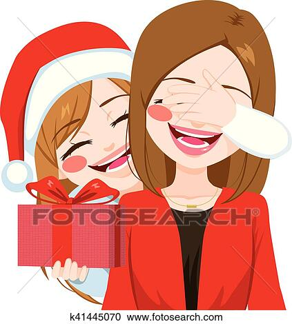 Mother Christmas Cartoon.Mother Daughter Christmas Gift Giving Clipart