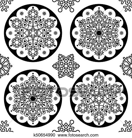 Scandinavian Christmas.Scandinavian Christmas Vector Folk Pattern Snowflake Mandala Seamless Design Black And White Xmas Wallpaper Wrapping Paper Or Textile Iskarpa