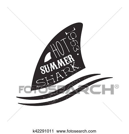 Clipart Of Shark Fin Above The Wave Summer Surf Club Black And White