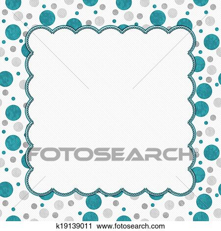 Stock Photography of Teal, Gray and White Polka Dots Frame with ...
