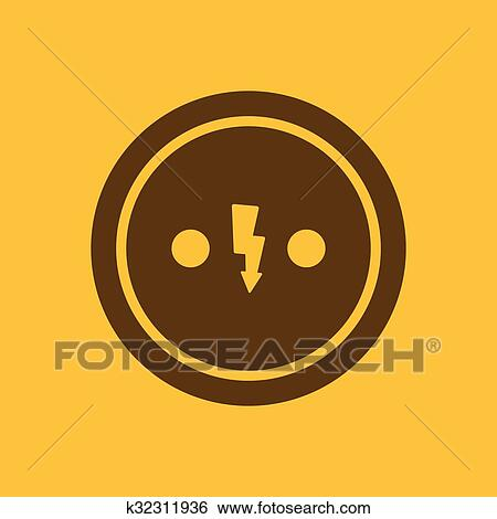 Clip Art Of The Electrical Outlet Icon Socket Symbol Flat
