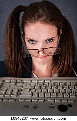 Picture Of Upset Female Computer Nerd K6346237 Search Stock