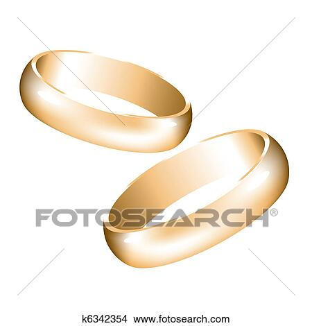 Clipart of vector golden wedding rings k6342354 Search Clip Art