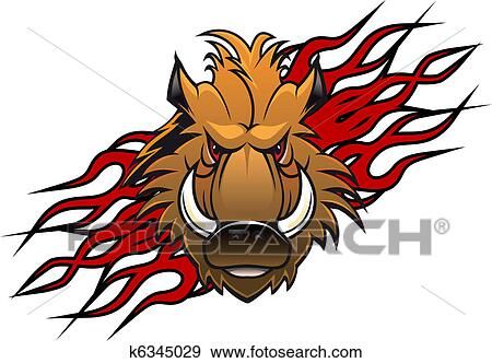 clip art of wild boar tattoo k6345029 search clipart illustration rh fotosearch com wild boar head clipart wild boar clip art free