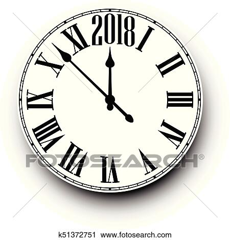 2018 new year black clock on white vector paper illustration