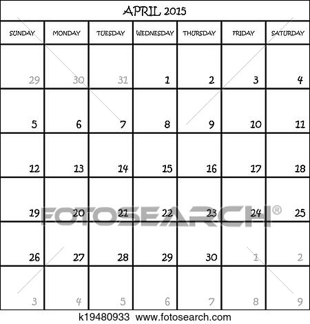 april 2015 calendar planner month on transparent background