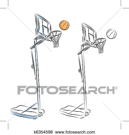 Basketball Hoop Stand Line Drawing Clip Art K6354598 Fotosearch