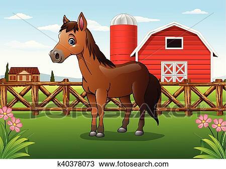 Cartone animato cavallo marrone in il fattoria clipart