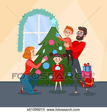 Weihnachtsgrüße An Sohn.Glückliche Familie Dekorieren Weihnachten Tanne Baum Vater Mutter Sohn Und Töchterchen Feiern Neu Year Vektor Abbildung Clipart
