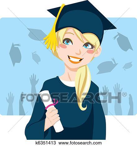 clipart of graduate girl k6351413 search clip art illustration rh fotosearch com graduation clipart graduation clipart pics