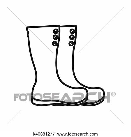 Hunting boots icon, outline style Stock Illustration ...