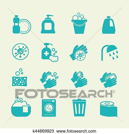 clipart of hygiene and cleaning icons washing antiseptic personal