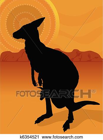 clipart of kangaroo outback k6354521 search clip art illustration rh fotosearch com Outback Logo Outback Logo