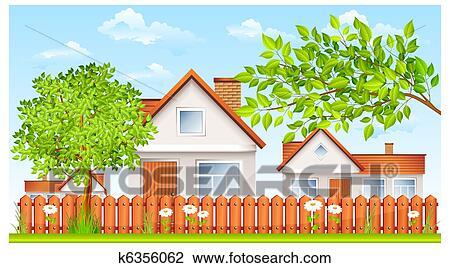 Clip Art Kleines Haus Mit Zaun Und Kleingarten K6356062