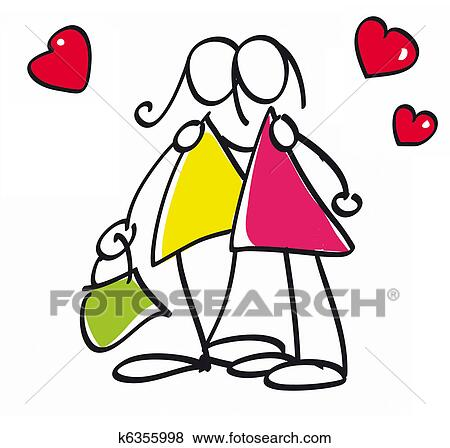 Illustration de dessin animé rétro de famille gay gaie