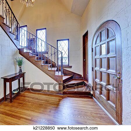 Luxe, maison, interior., entrée, couloir, à, escalier Banque d\'Image
