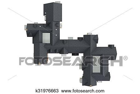 Dessin - Toit, Grand, Maison, Vue Dessus K31976663 - Recherchez Des