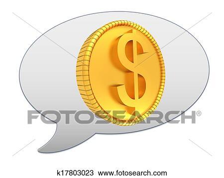 Zeichnung Bote Fenster Symbol Und Gold Dollar Münze K17803023