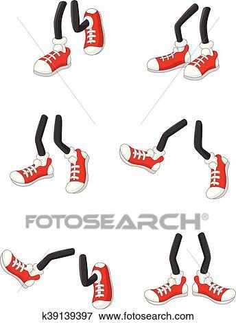 Cartoon walking feet on stick legs Clip Art   k39139397 ...