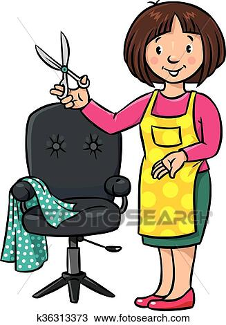 clipart of funny hairdresser or barber profession abc series rh fotosearch com barber clip art free barber clip art images