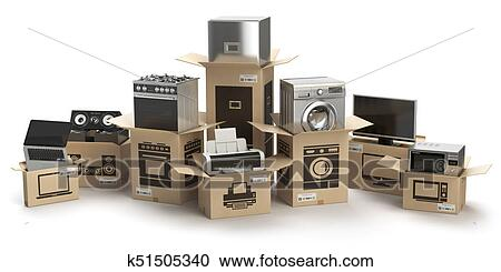 Household Kitchen Appliances And Home Electronics In Boxes Isolated On White E Commerce Internet Online Shopping And Delivery Concept Clipart K51505340 Fotosearch
